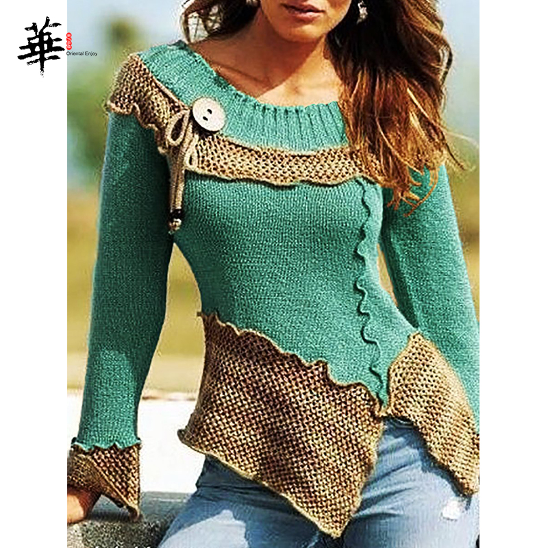 Vintage Autumn Women Sweater Jumper O-neck Long Sleeve Slim Laides Sweaters And Pullovers Winter Knitted Femme Tops