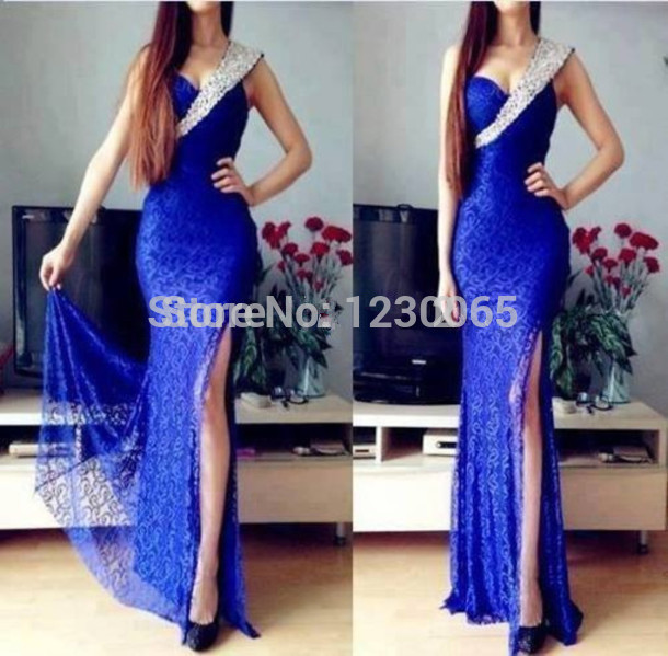 Elegant One Shoulder Leg Slit Floor Length Royal Blue Lace Prom Beaded Formal Evening Party Gown Mother Of The Bride Dresses
