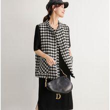 Tweed Vest Jacket Gilet Houndstooth Black Korean White Women Sleeveless Waistcoat Plaid