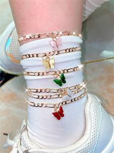 VKME BUTTERFLY CHARM CUBAN LINK CHAIN ANKLET