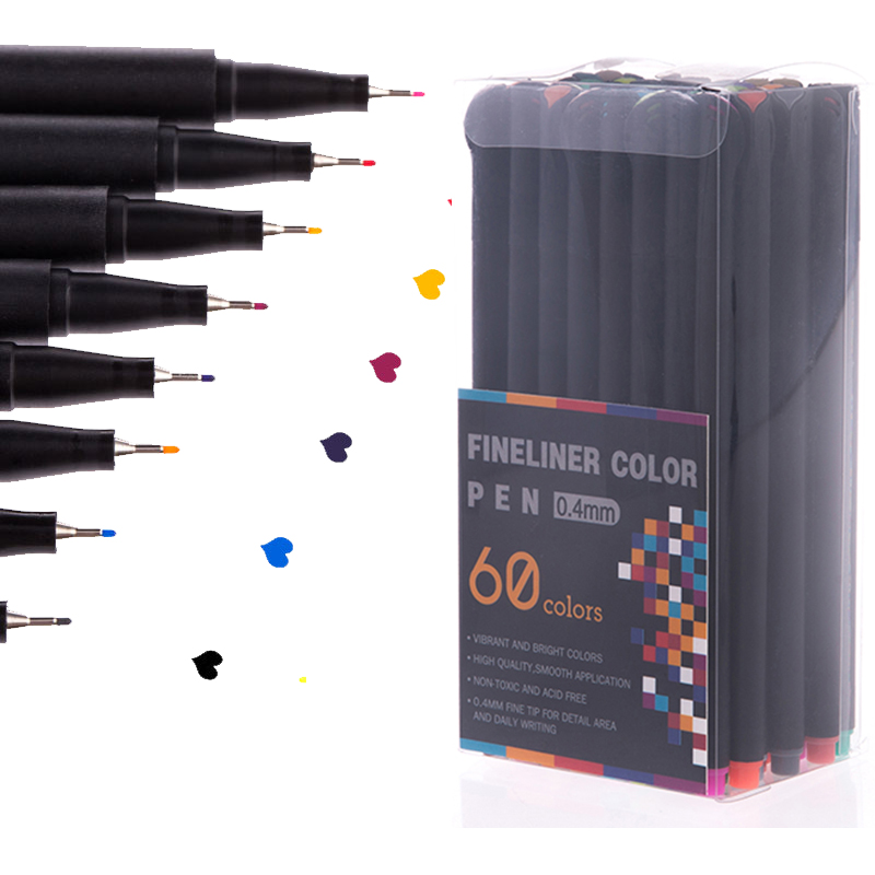 12/24/48/60 Color Fineliner Pen Set Professional Felt Tip Art Marker Drawing Sketch Fine Liner Pen Set
