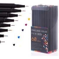 Juego de pluma Fineliner de 12/24/Color 48/60, marcador profesional de punta de fieltro, juego de pluma delineadora fina de dibujo