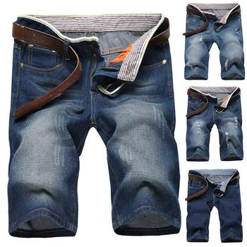 Summer Fashion Men Ripped Straight Denim Shorts Jeans Destroyed Hole Fifth Pants Men's five-cent knee-length solid blue jeans