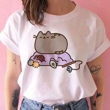 New Women's T-shirt Pusheen THE Cat Kawaii Funny Top Female T Shirts Cartoon Harajuku Graphic Korean O-Neck Tee Shirt Clothes