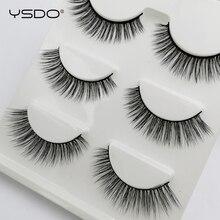 YSDO 3 pairs 3d mink false eyelashes winged lashes fluffy makeup fake volume lash dramatic