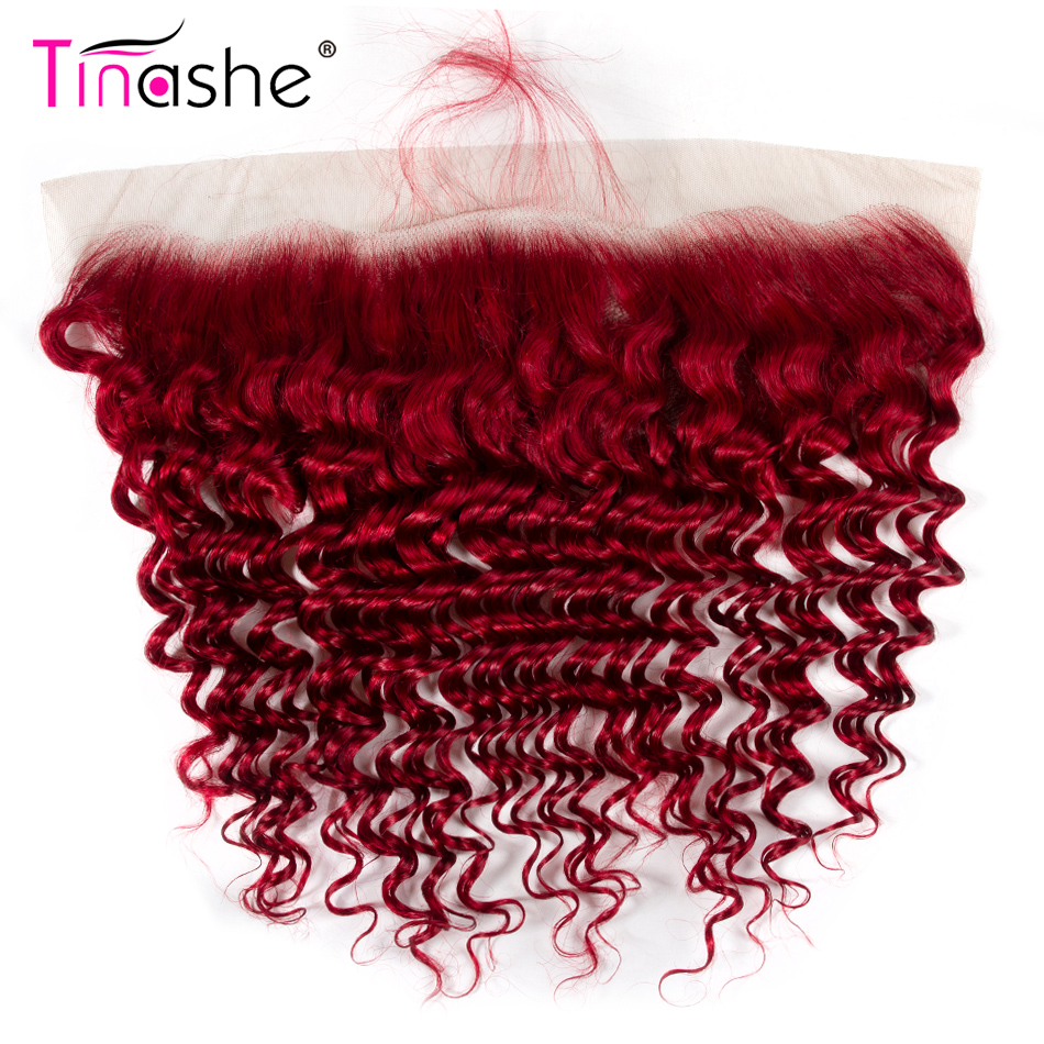 Tinashe Hair Red Deep Wave Lace Frontal Closure Remy Brazilian Human Hair Closure  Pre Plucked 13x4 Swiss Lace Frontal Closure