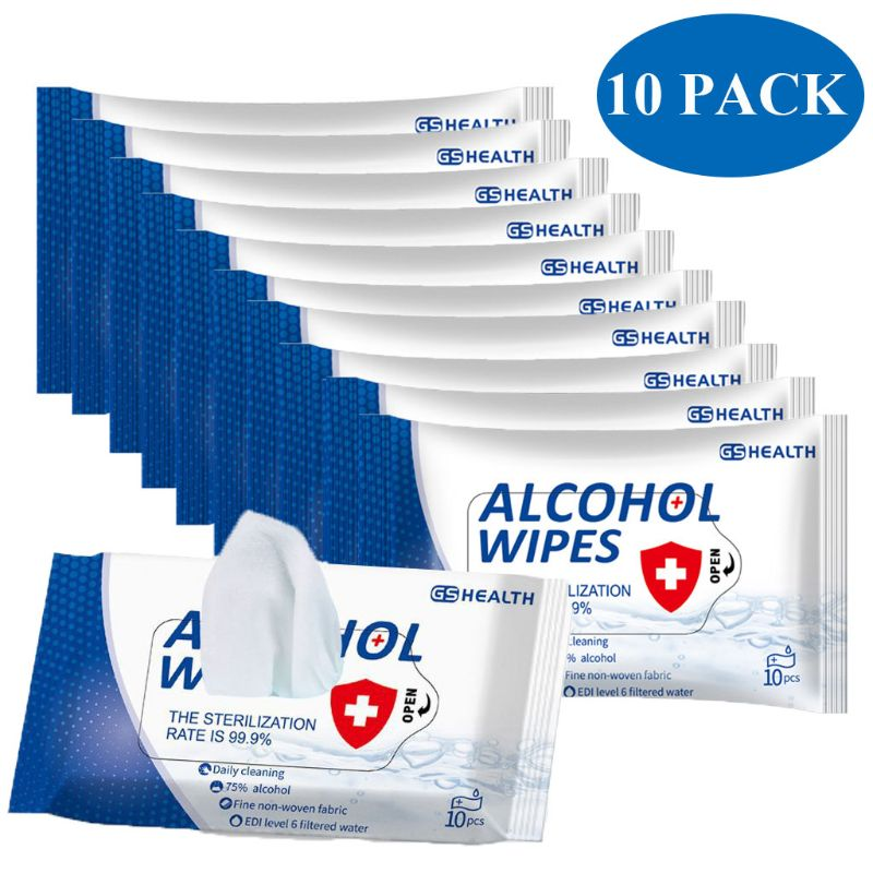 10 Packs Disinfection 75% Alcohol Wipes Disposable Cleansing Hand Sanitizer Wipes(10pack ,7