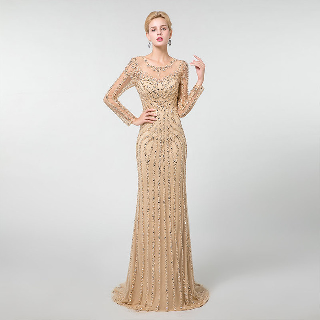 YQLNNE złote suknie wieczorowe z długim rękawem syrenka tiul kryształy frezowanie suknia na konkurs piękności Robe De Soiree