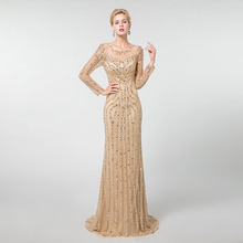 Yqlnne ouro manga longa vestidos de noite sereia tule cristais beading pageant vestido robe de soiree