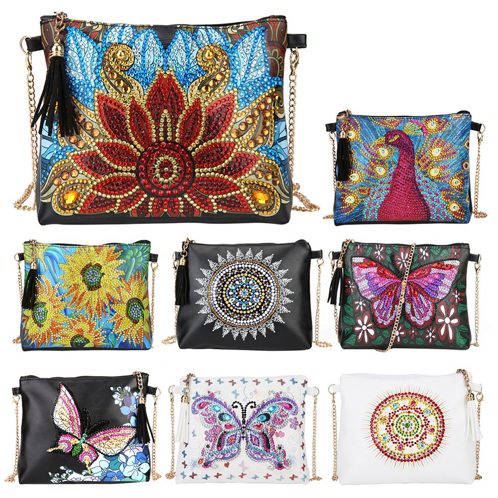 DIY Flower Special Shape Diamond Painting Chain Shoulder Bag Leather Women Clutch Storage Bag Christmas Gift Craft Toys