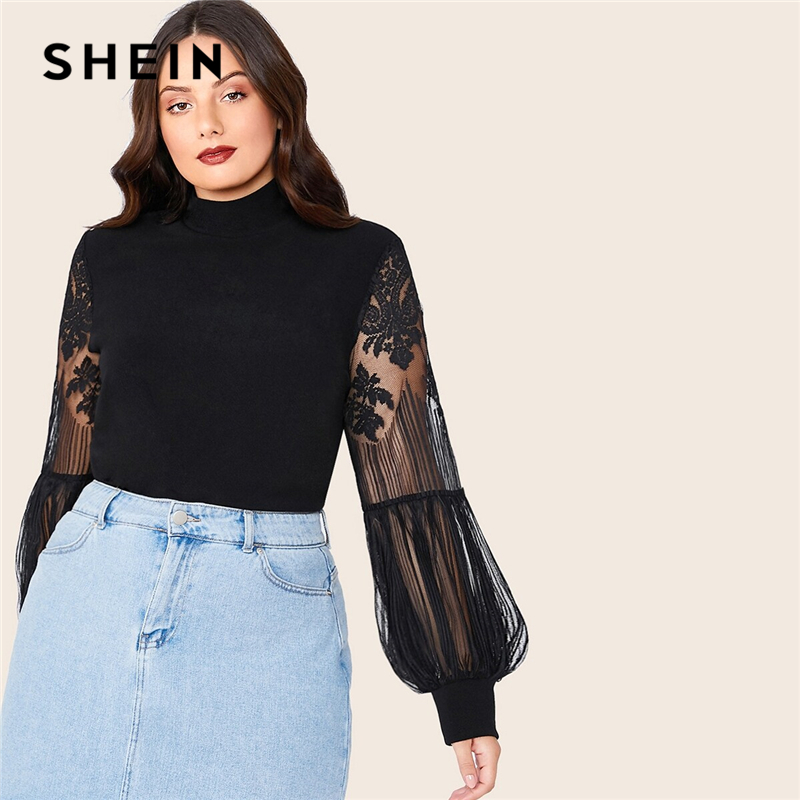 SHEIN Plus Size Black Mock Neck Lace Lantern Sleeve Fitted Top Women Autumn Solid Elegant Office Lady Womens Tops and Blouses 1
