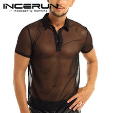 INCERUN Transparent Mesh Shirts Männer 2020 Kurzarm Revers Atmungs Sexy Shirts Männer Clubwear Chic Party Camisas Hombre S-5XL(China)