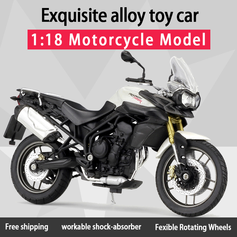 Welly 1:18 TRIUMPH TIGER 800 Alloy Diecast Retro Motorcycle Model Workable Shork-Absorber Toy For Children Gifts Toy Collection