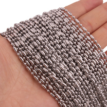 Wholesale 10/20/50/100pcs/lot Silver Tone Stainless Steel Ball Beads Bamboo Link Chain Necklace DIY Jewelry Findings