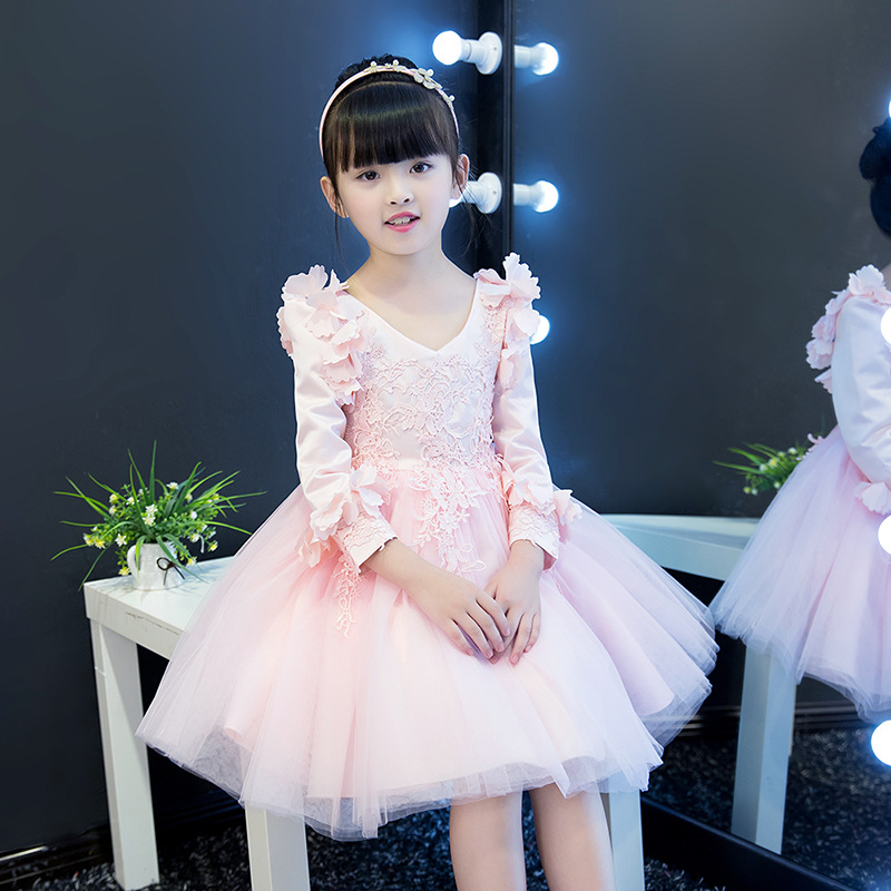 New Style Girls Princess Long Sleeve Wedding Dress Lace Brushed And Thick Formal Dress Children Western Style Autumn And Winter