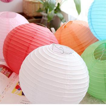 12/30cm Round Decorative Rice Paper Chinese Lanterns Lamp Shade Wedding Birthday Party Decoration Baby Shower
