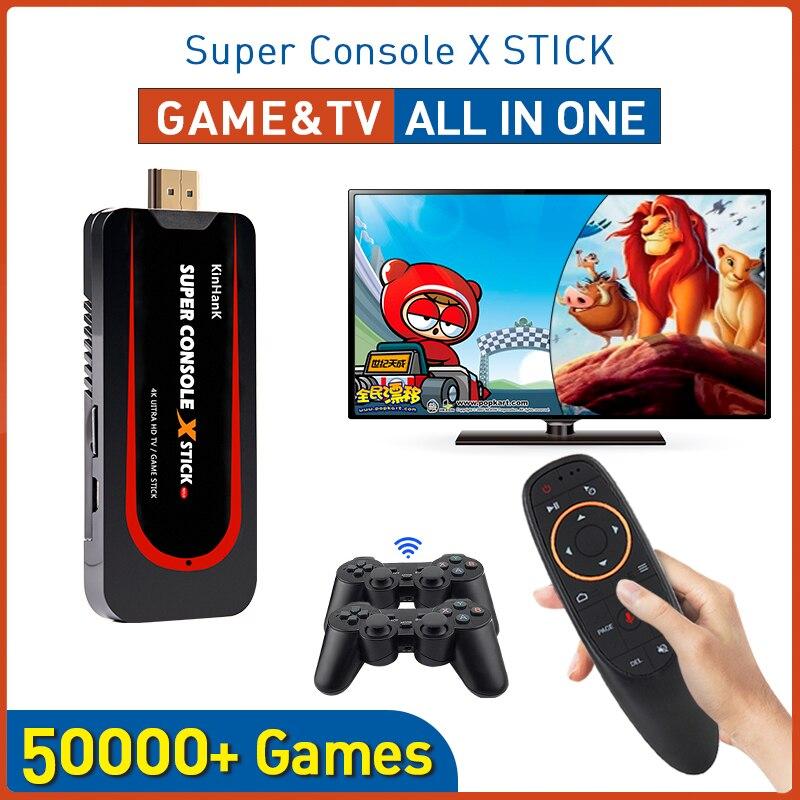 Super Console X Stick Mini Video Game Console Emulator Built-in 50000+ Games Double Controller Player 4K 64 Bit Retro Console