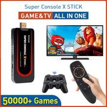 Super console x vara mini emulador de console de jogos de vídeo embutido 50000 + jogos duplo controlador jogador 4k 64 bit console retro