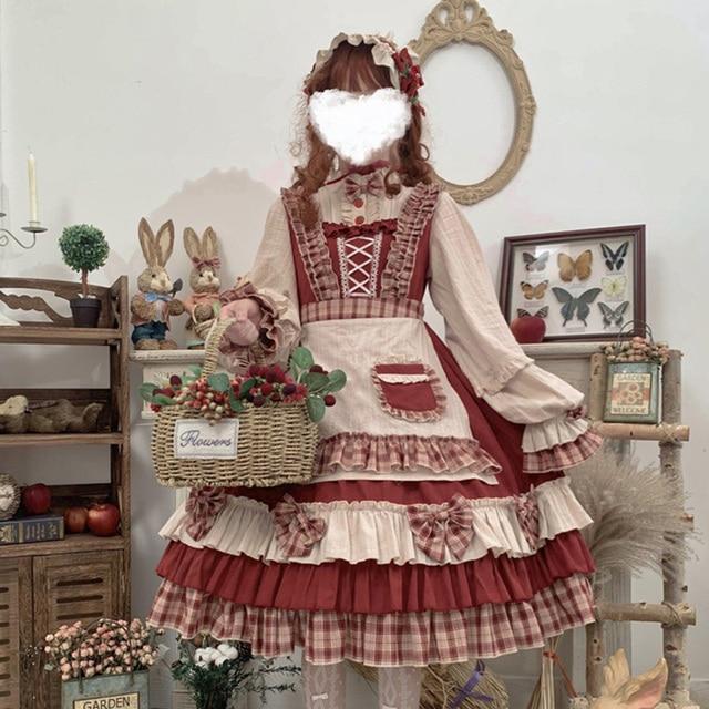 Фото японское винтажное платье лолиты с бантом и подставкой каваи