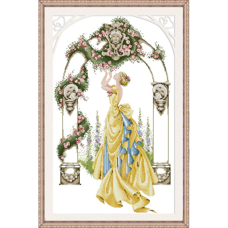 Joy Sunday Rose In Gate and Courtyard DMC 11CT14CT Cross Stitch Handmade DIY Embroidery Needlework Kit for Gift and Home Decor image