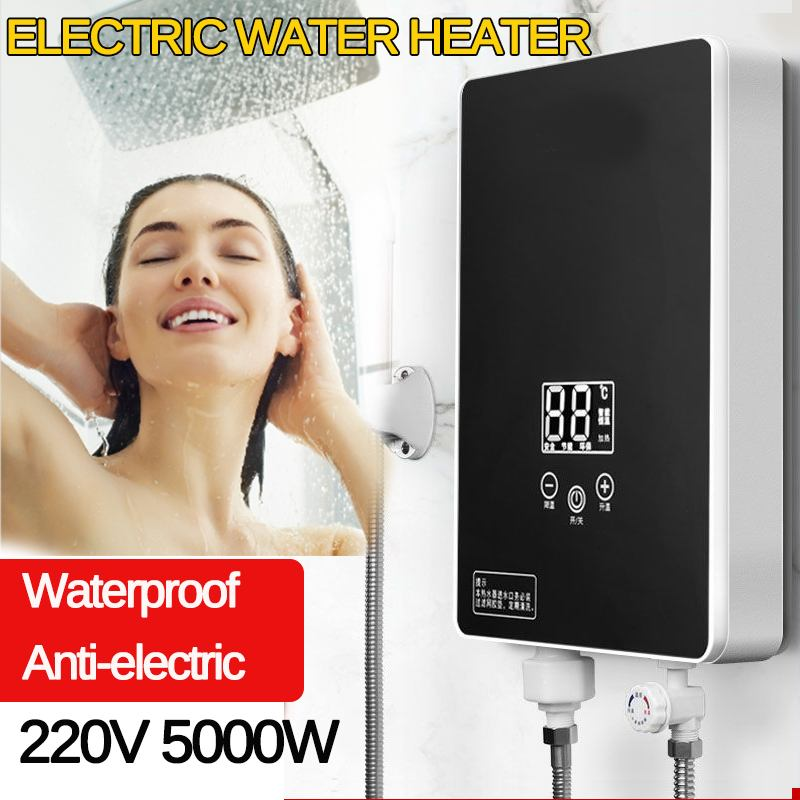 5000W Instant Electric Tankless Water Heater Instantaneous Water Heater Instant Electric Water Heating Fast 3 Seconds Hot Shower