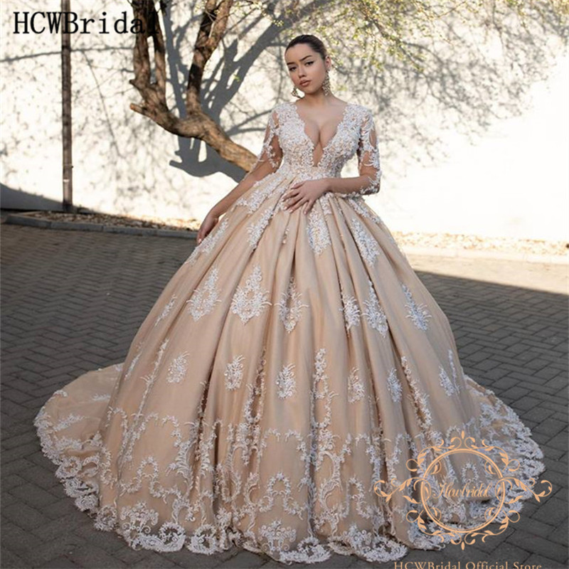 Amazing Champagne Dubai Wedding Dresses Long Sleeves Deep V Neck