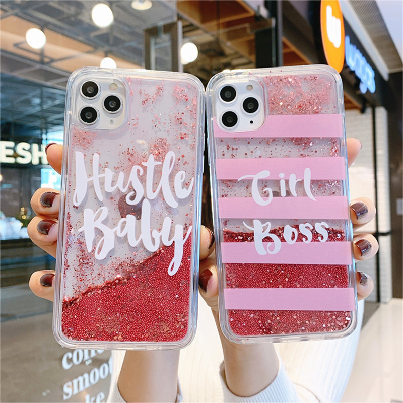 INS Girl boss Liquid quicksand case For iPhone 11 11Pro Max Phone Cases Dynamic Glitter case For iphone X XR XS Max 7 8 Plus
