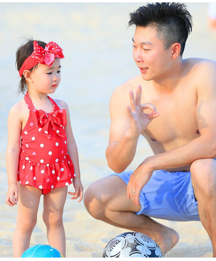 KID'S Swimwear Women's Infant Baby One-piece Princess Dress Dotted Red Olivia Celebrity Style Cute Bow Swimming Suit