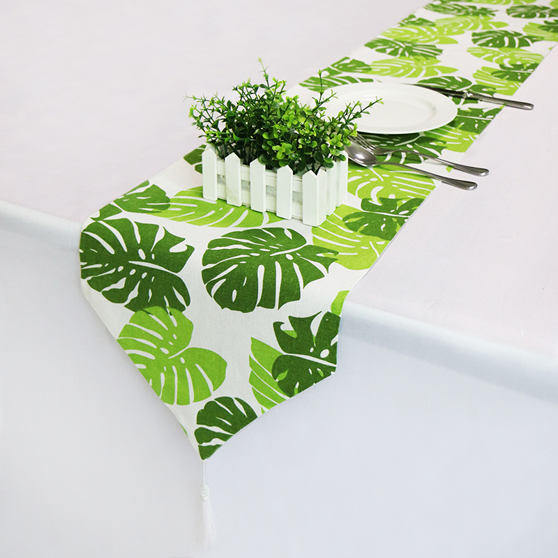New Fashion Modern Table Runner Green Leaves Printed Linen Cotton Runner Table Cloth With Tassels Table Runners Cushion Cover