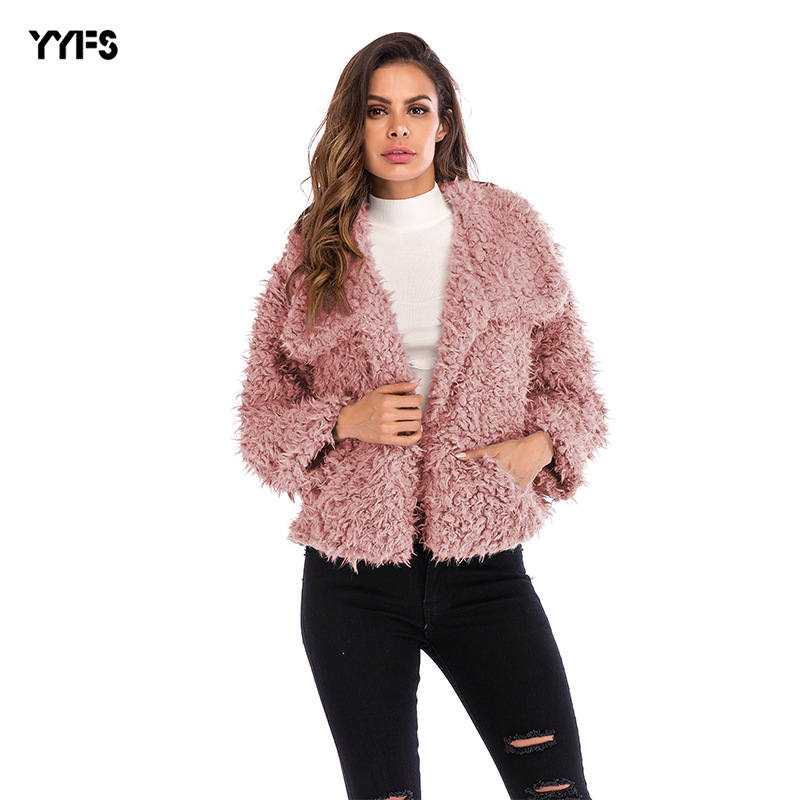 YYFS 2019 Autumn Winter Women   Basic     Jacket   Lambs Wool Bomber   Jacket   Women Long Sleeve   Jacket   Casual Single Breasted Denim   Jacket