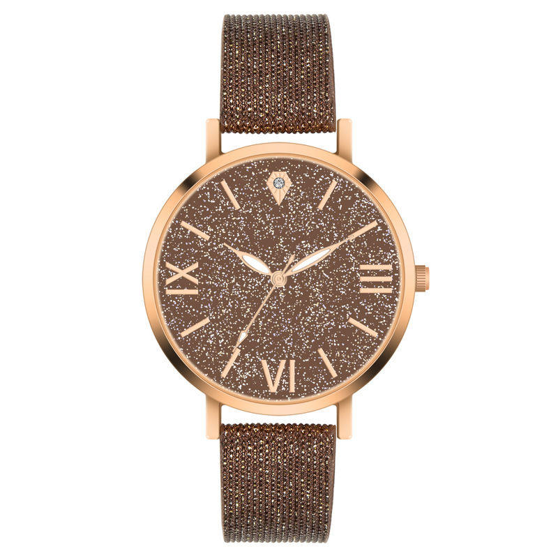 Ms Cross-border Shopee Hot Money Star Surface Mesh Belt Watches The Roman Character Quartz Watches Factory Direct Sale
