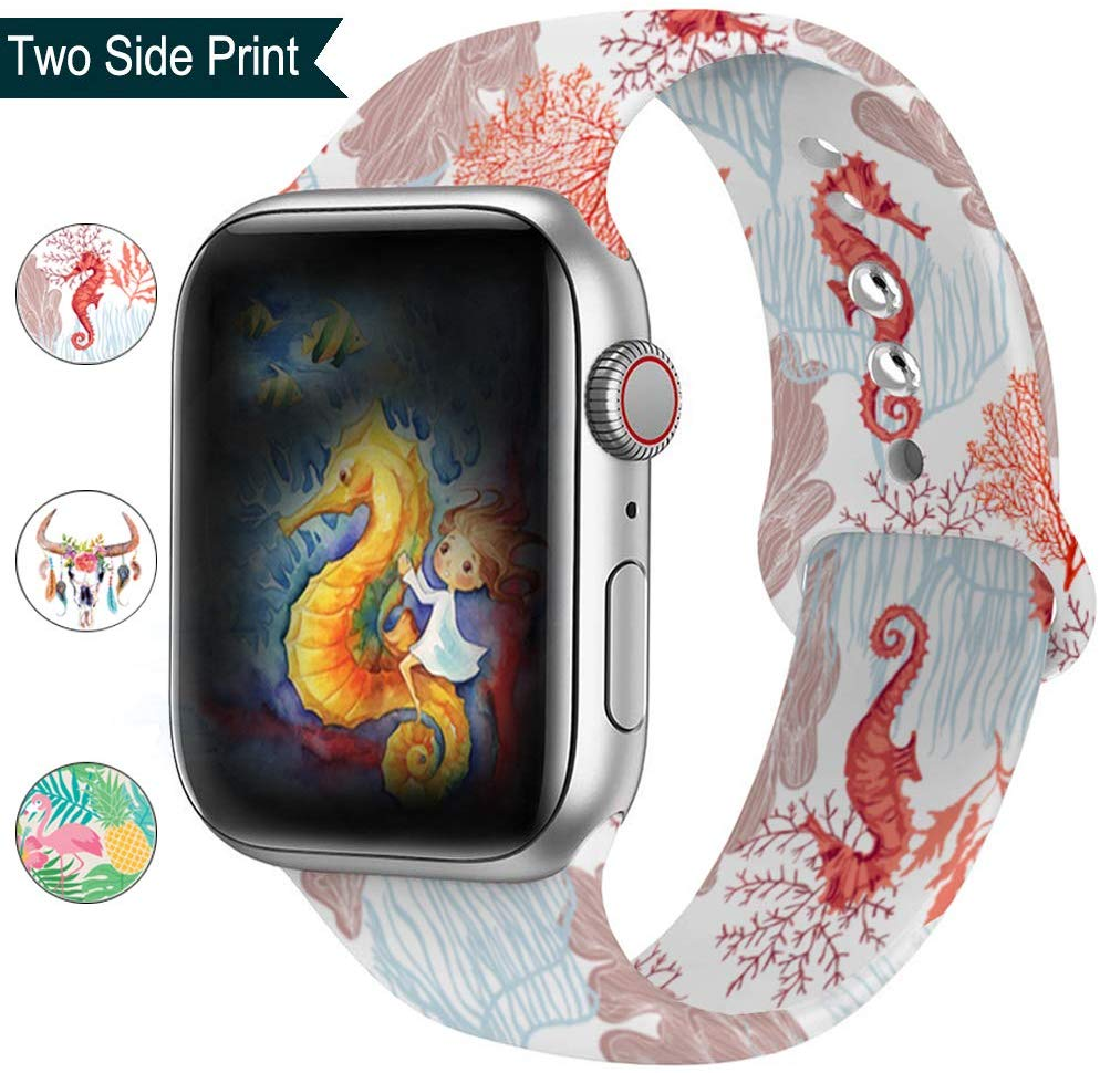 Double-sided Printing Silicone Band For Apple Watch 38mm 42mm 40mm 44mm Rubber Sport Strap For Iwatch Series 5 4 3 2 1 Bracelet