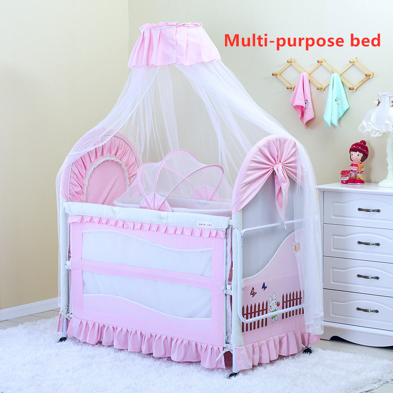 Multifunctional 2-in-1 0-3 Year Old Crib With Cradle And Portable Foldable Crib With Mosquito Net And Mattress