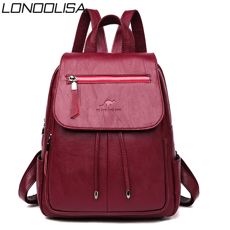 Bagpack Leather Backpack Women Back Pack Shoulder Bags For Women 2019 Travel Backpack Mochila Feminina Preppy Style Sac A Dos