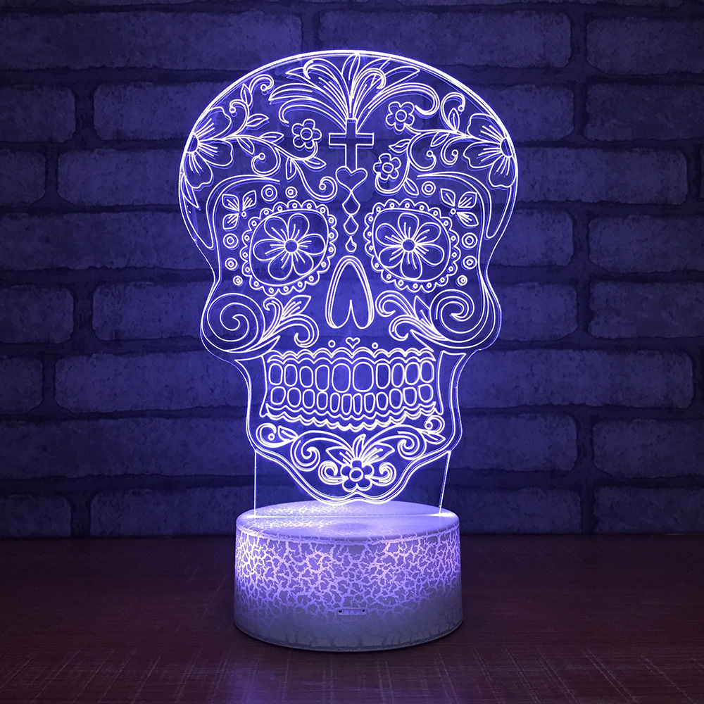 Skull 7 Color Lamp 3d Visual Led Night Lights For Kids Touch Usb Table Lampara Lampe Baby Sleeping Motion Light
