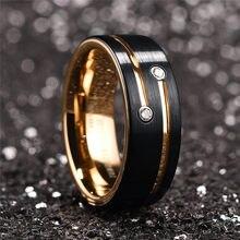 I & FDLK-Anillo de carburo de tungsteno negro de 8mm para hombre, banda de boda de cristal, chapado en oro, joyería, novedad de 2021