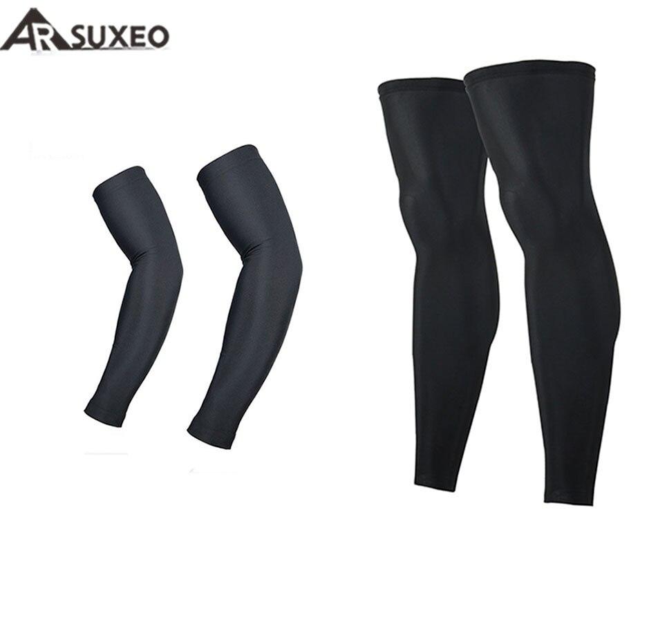 ARSUXEO Cycling Sleeves MTB Bicycle Sleeves Arm Warmer +Legwarmers UV Protection Sleeves Running Arm Sleeves Leggings
