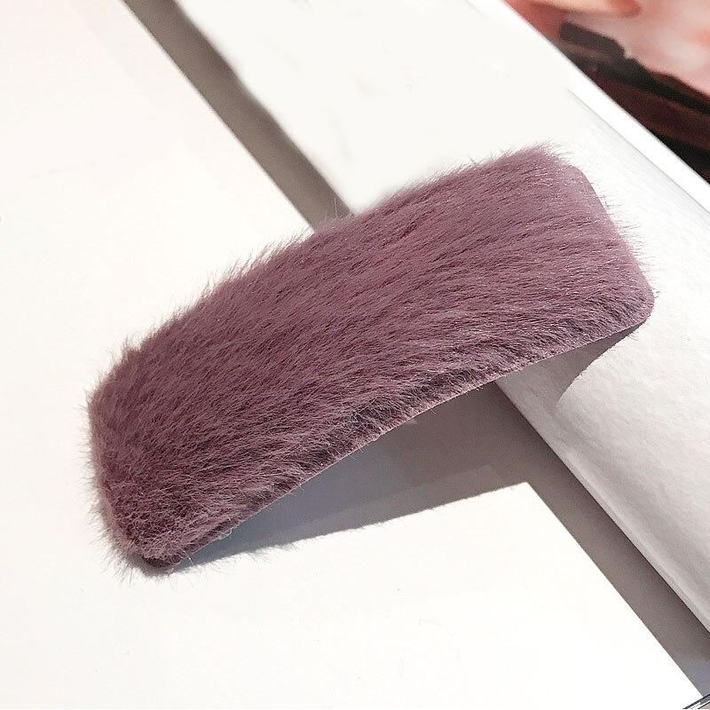 1 шт. искусственный мех капли квадратные заколки для волос шпильки с плюшевыми шариками осень зима мягкие однотонные заколки аксессуары для волос Зажимы для челки - Цвет: 23