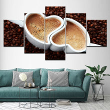 5 Panel Canvas Wall Art Prints Koffieboon Schilderij Foto Hartvormige Cup Poster Keuken Restaurant Modulaire Home Decor Frame(China)