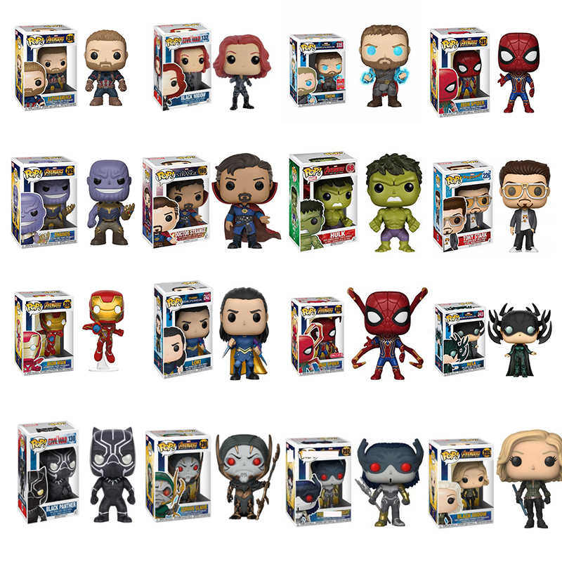 Funko POP Marvel Avengers Iron Man Captain America Thor Black Widow Hulk Rental Spiderman Model Kotak Asli Mainan Ulang Tahun