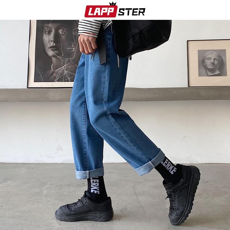 LAPPSTER Men Korean Fashions Blue Plus Size Jeans 2020 Harem Pants Mens Japanese Streetwear Denim Loose Wide Leg Loose Pants