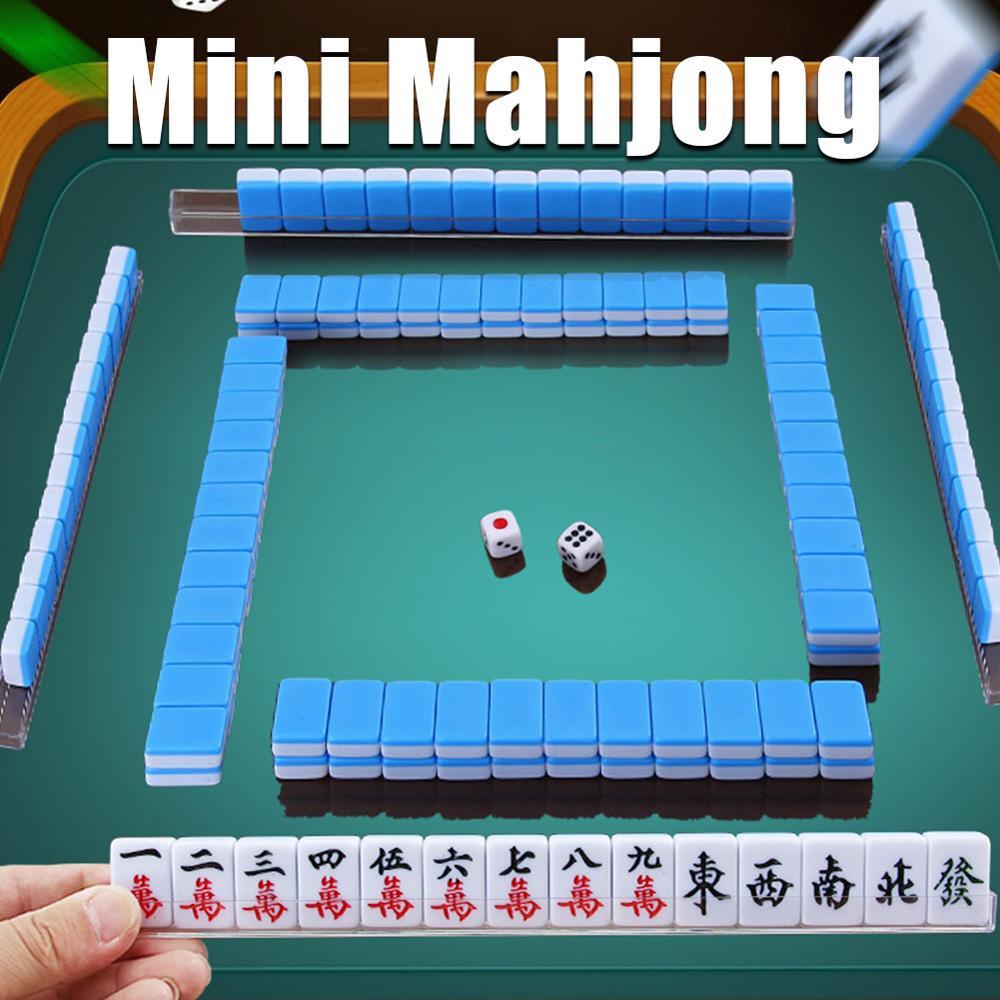 Jogos de Tabuleiro Mini Pequeno Mahjong Tradicional Chinês Entretenimento Diversão Família Presentes Portátil Raro Jogo