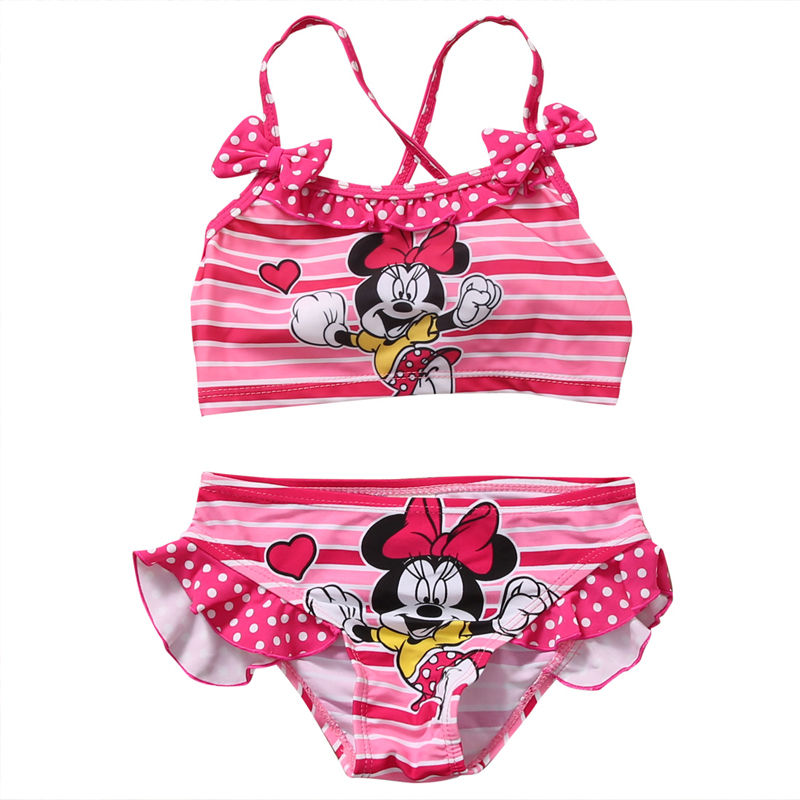 Summer Toddler Baby Girls Swimwear Mickey Minnie Swimwear Bow Striped Swimsuit Bikini Set  Swimsuit Bathing Suit Beachwear