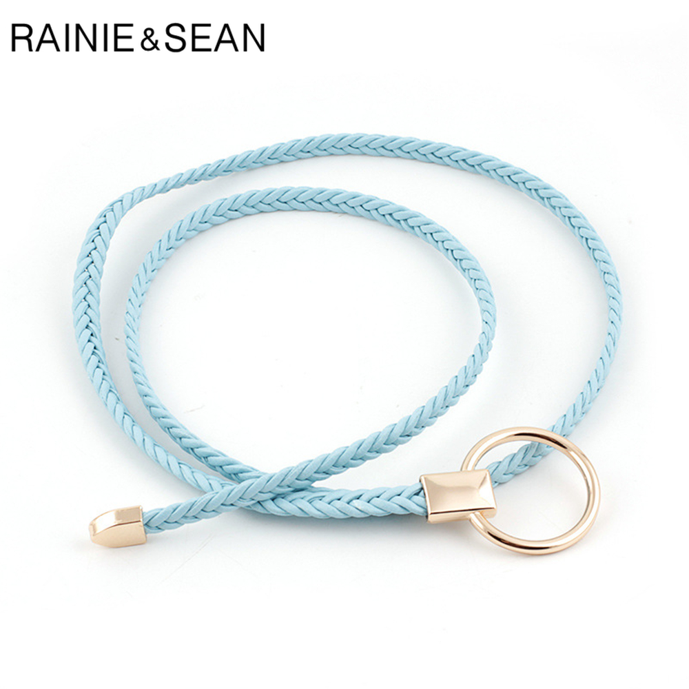 RAINIE SEAN Thin Belt Women Weave Pu Leather Fashion Ladies Strap For Dresses Solid Light Ble Pink Red Camel Self Tie Women Belt