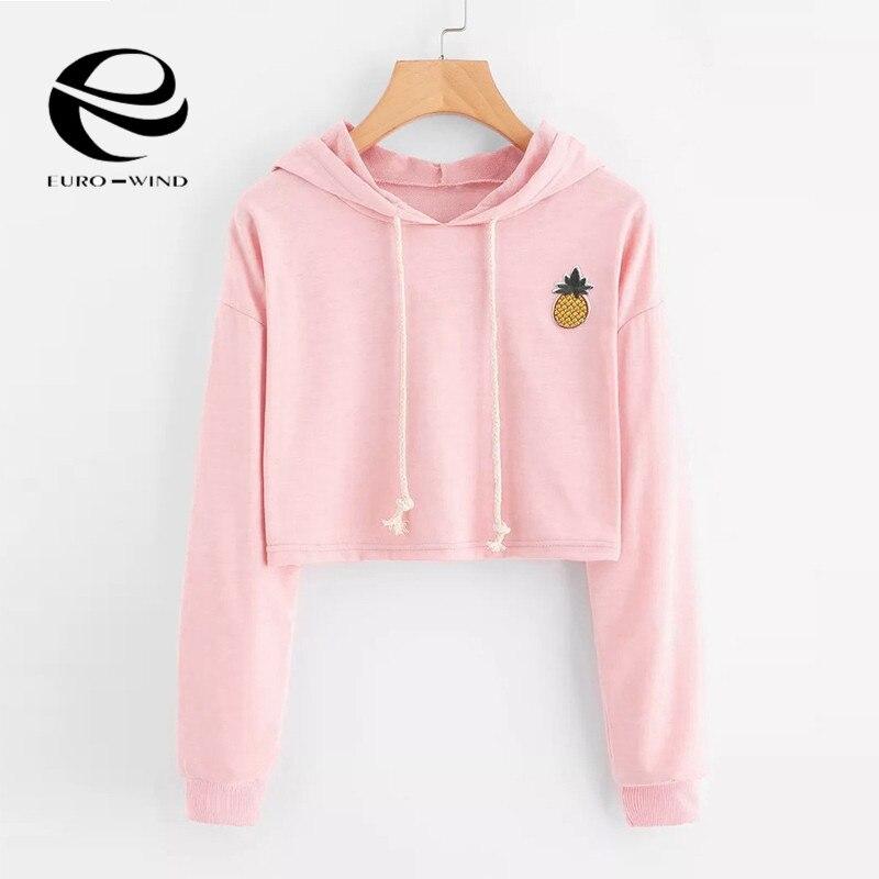 2019 Women Hoodies Sweatshirts Long Sleeve Hooded Sweatshirt Appliques Pineapple Jumper Hooded Pullover Tops Blouse For Female