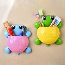 Children Plastic Toothbrush Holder Creative Cute Cartoon Kids Wall Suction Cup Mount Turtle Toothpaste Container Box