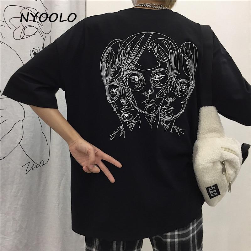 NYOOLO Harajuku Streetwear Portrait Print Loose Short Sleeve T-shirt Men And Women Clothing Top Summer O-neck Tee Shirt