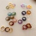 AOMU 1 комплект в Корейском стиле винтажные сандалии с прозрачными вставками, резиновые цветные кольца Шик Красочный Акриловые геометрически...