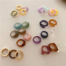 Aomu 1 conjunto coreia do vintage resina transparente anéis coloridos chique colorido acrílico geométrico irregular anel conjunto para jóias femininas