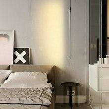 Modern siyah LED asma kolye yatak odası lambaları oturma odası Loft Nordic ev dekoratif